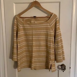 Anthropologie Yellow and off-white top